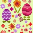 Floral background with Easter eggs — Stock Vector