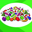 Fruits and vegetables on card - Stock Vector