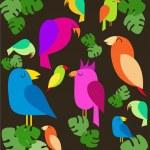 kolorowe papugi na drzewach — Wektor stockowy