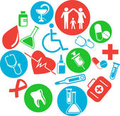 Collection of medical themed icons — Stock Vector