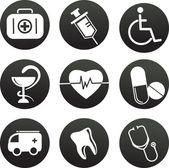 Colección de blanco de iconos temática médica, negro — Vector de stock