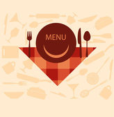 Restaurant menu design with smiley on plate — Stock Vector
