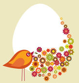 Easter spring flower garden with bird, vector illustration — Stock Vector