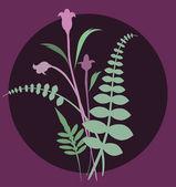 Yumuşak yeşil bitki ve çiçek simgesi — Stok Vektör