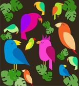 Colorfull parrots on trees — Stock Vector