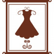 Fashion boutique sign with dress — Stock Vector
