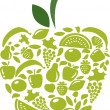 Apple with fruits and vegetables pattern on white — Stock Vector #12282005