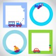Stock Vector: Card templates with toy transportation