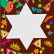 Purim background with davis star - Stock Vector