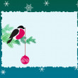 Stock Vector: Bullfinch bird on winter background