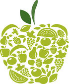 Apple with fruits and vegetables pattern on white — Stock Vector