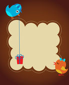 Greeting card template with two birds — Stock Vector