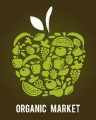 Apple con motivo di frutta e verdura — Vettoriale Stock