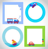 Card templates with toy transportation — Stock Vector