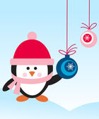 Penguin with hat and scarf with decoration balls — Vector de stock
