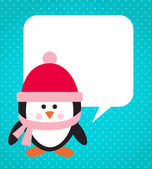 Penguin on snowy background — Stock Vector