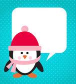 Pinguïn op besneeuwde achtergrond — Stockvector