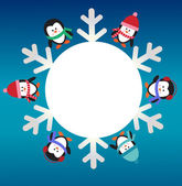 Six penguins with snowflake — Vector de stock
