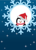 Penguin on snowflake background — Vector de stock