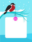 Red chect bird on branch with snow — Stok Vektör