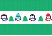 Penguins with christmas trees — Vector de stock