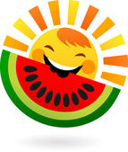 Happy sun eating slice of watermelon — Stock Vector