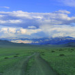 Mongol road to mountain - Stock Photo