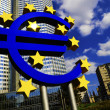 Euro Sign in front of the European Central Bank in Frankfurt, Germany — Foto de Stock