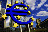 Euro Sign in front of the European Central Bank in Frankfurt, Germany — Stock Photo