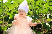 маленькая девочка ребенка ходить в зеленом поле подсолнечника — Стоковое фото