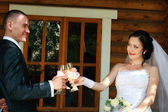 Happy young pair on a background of a wooden house pronounces a toast — Stock Photo