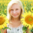 Young blonde green-eyed girl in the field of sunflowers — Stock Photo