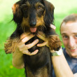 Dachshund being held up high - Stock Photo