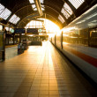 Morning sun at the train station — Stock Photo