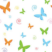 Seamless White Butterfly Pattern — Stock Vector