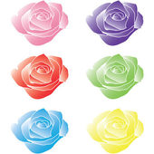 Colorful Set of Roses — Stock Vector