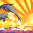 Stock Vector: Dolphins in sea