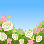 The flowers in the garden — Vector de stock