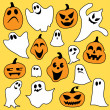 Vector de stock : Halloween mix of ghost and pumpkin