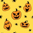 Seamless halloween pattern with pumpkin — Stock Vector