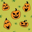 Seamless halloween pattern with pumpkin and spider - Imagens vectoriais em stock