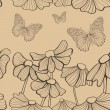 Decorative flowers and butterfly seamless — Imagen vectorial