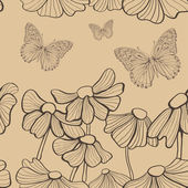 Decorative flowers and butterfly seamless — Stockvektor