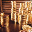 Pile of golden coins — Foto Stock
