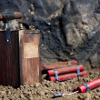 Detonator and dynamite on mine - Stock Photo
