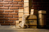 Wooden crates packed for export — Stock Photo