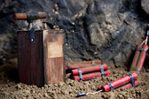 Detonator and dynamite on mine — Stock Photo