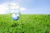 Protecting earth inside a crystal jar over grass, ideal for background — Stock Photo