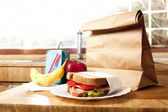 Healthy School Lunch with brown bag — Stock Photo