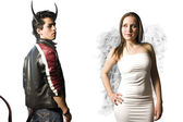 Angel and demon isolated on white — Stock Photo